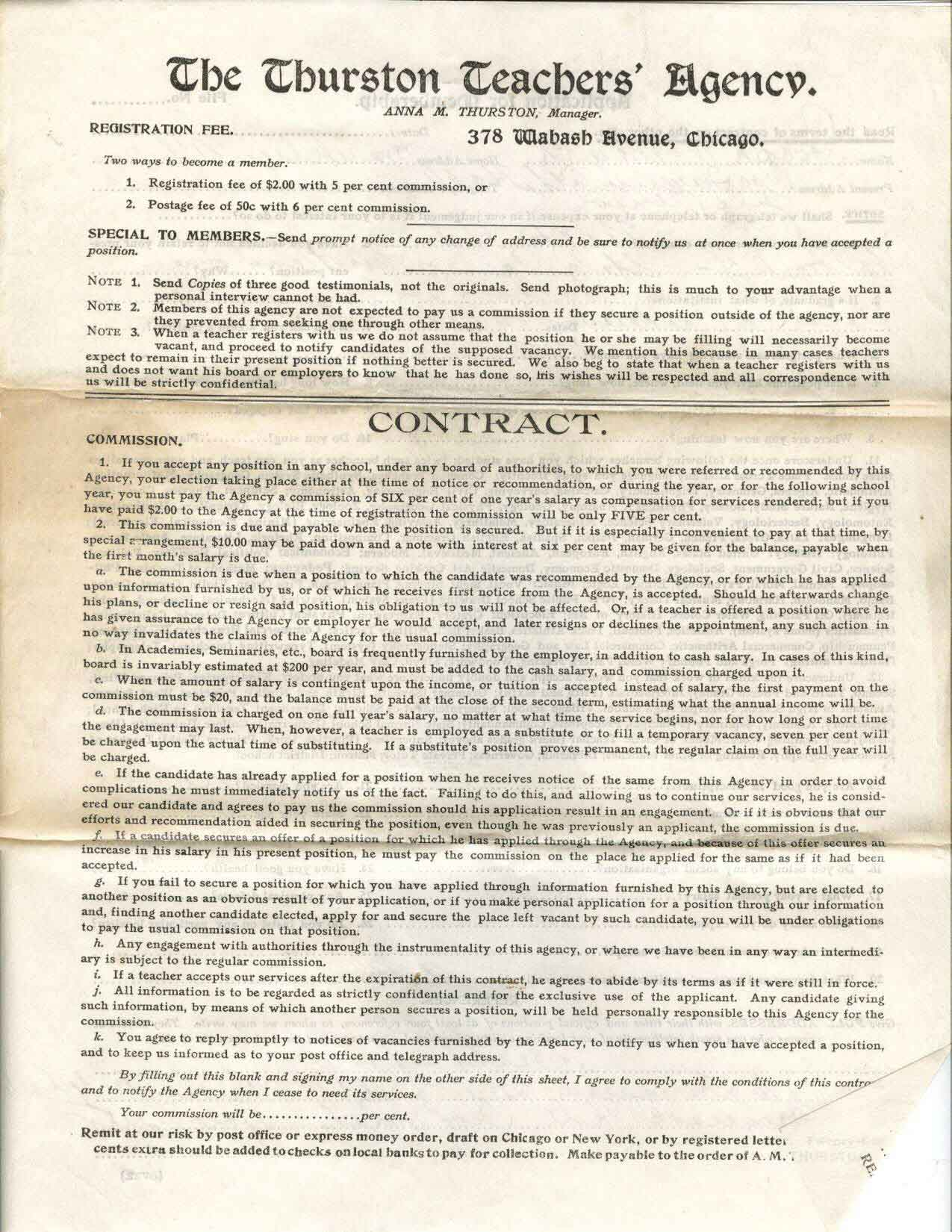 front of document