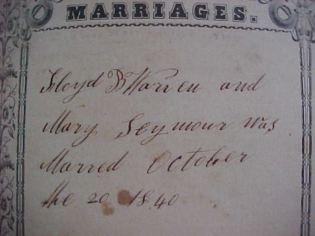 Marriages Page from Warren Bible