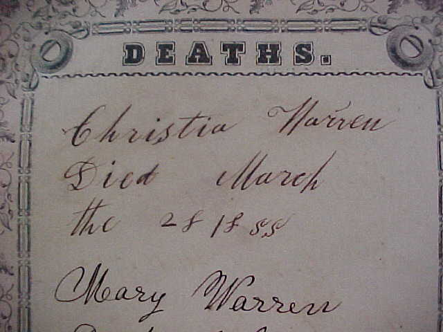 Deaths from Warren Family Bible